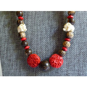 Red/Brown Elephant Accent Necklace