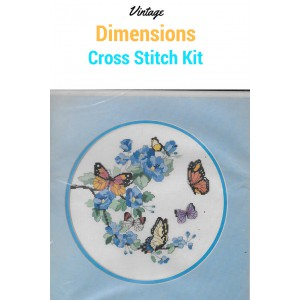 Dimensions Easy Cross Stitch Kit, Vintage, No Count, Blossoms and Butterflies