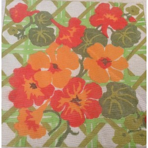 Needlepoint Canvas, Vintage Hand Painted Needlepoint Canvas,Nasturtiums, Stitch N Time Canvas