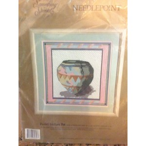 Candamar Designs, DIY Needlepoint Kit, Vintage Pastel Indian Pot,Native American Decor, Kit 30658