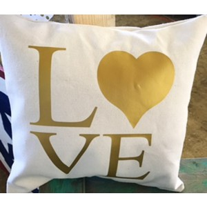 Gold Love throw pillow cover 14 x 14