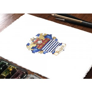Family Crest or Coat of Arms Miniature Painting, Heraldry Art with Gold leaf or Silver Metal Leaf -