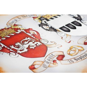 Custom Wedding Gift - Custom Family Crest - Hand Drawn Coat of Arms with Gold Leaf