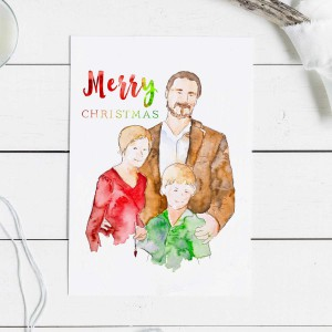 Custom Christmas Card - custom watercolor family portrait christmas card