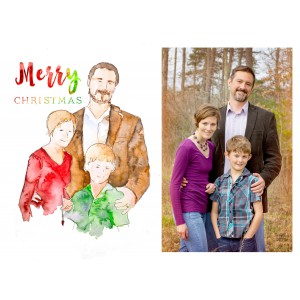 Custom Christmas Card - custom watercolor family portrait christmas card by Jamie Hansen