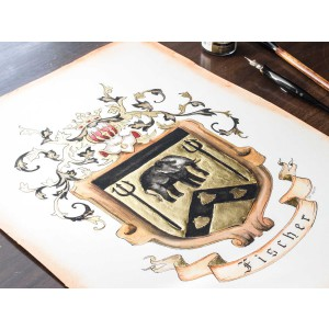 "Original Coat of Arms or Custom Family Crest - 11"" by 14"" - personalized art in watercolor"