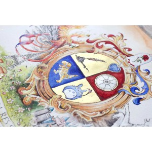 "Original Coat of arms artwork - Family Crest Painting - Big 16"" x20"" art"