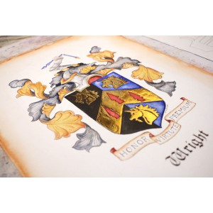Custom Coat of Arms or Original Family Crest Art - Heraldry Art with Gold and Silver Leaf by Jamie Hansen