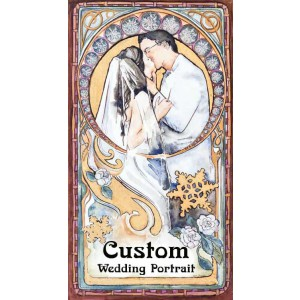 Personalized Art Nouveau Wedding Portrait / custom watercolor art with gold leaf