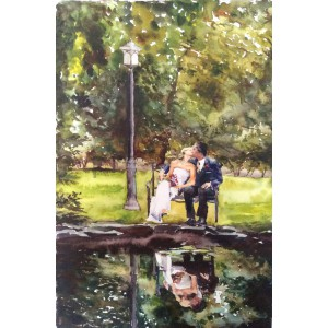 "Watercolor Wedding Portrait from photo- 16"" x 20"" original watercolor painting from your wedding photo"