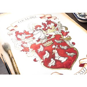 "Custom Family Crest / Custom Coat of Arms watercolor painting-Large 16"" x 20""art"