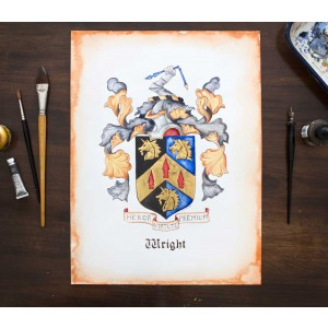 "Custom Family Crest - Hand Drawn Heraldry from existing illustration or research - 11"" by 14"" - coat of arms art"