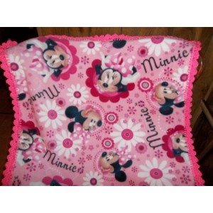 Minnie Mouse Baby Fleece Blanket with Bright Pink Crocheted Edging Baby Shower Gift Mom to Be Gift