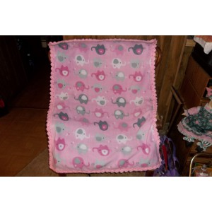 Elephants Pink Baby Fleece Blanket with Light Pink Crocheted Edging Mom to Be Gift Baby Shower gift