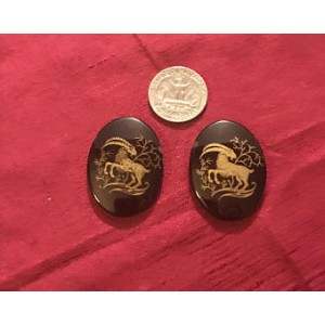 Gilded Capricorn Cabochons