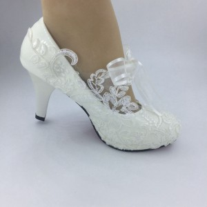 Handmade fashion lace RIBBON Rhinestone white  ankle flowers ballet  wedding HEEL for women