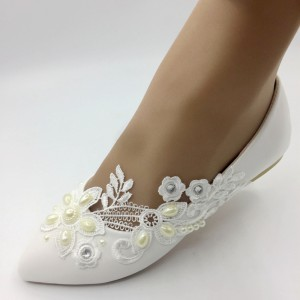 Handmade Women shoes white Wedding shoes pearl lace bowknot Bridal Bridesmaid Flat SHOES