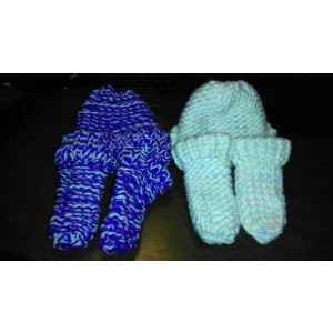 Custom matching baby beanie and bootie set