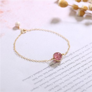 Strawberry Quartz Beaded Crystal Bracelet in Sterling Silver