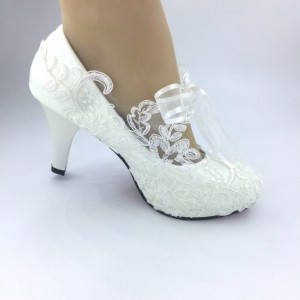 Handmade Women   White  lace RIBBON Wedding Shoes Bridal Heels Pumps 35-41