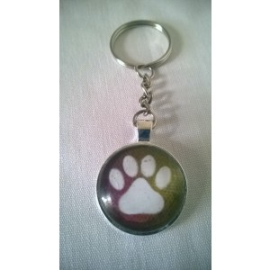 White Cat Paw Print Glass Dome Pendant Keychain Original Design by Joann Renner Gift Under 10