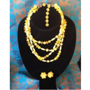 Vintage Multi Strand Necklace and Matching Ear-bobs