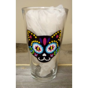 Hispanic Dia de los Muertos Day of Dead Cat Beer Pint