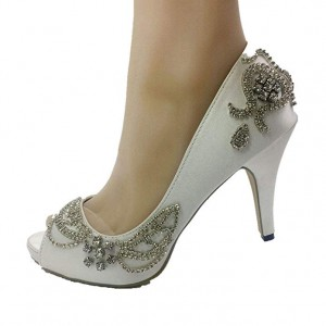 Handmade Women Peep Toe White Light Ivory lace Crystal Wedding Shoes Bridal Heels Pumps 35-41