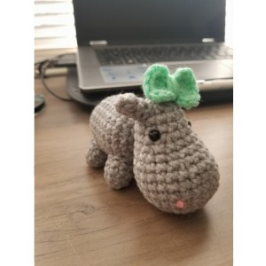Small Hippo with Green Bow
