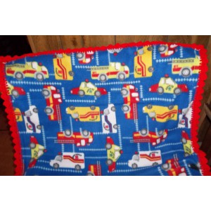 Emergency Trucks Baby Fleece Blanket with Crochet Edging Crib Blanket Toddler Cover