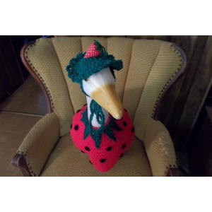 Strawberry Geese Goose Outfit Dress Crochet Outdoor Decor Garden Statue Decor
