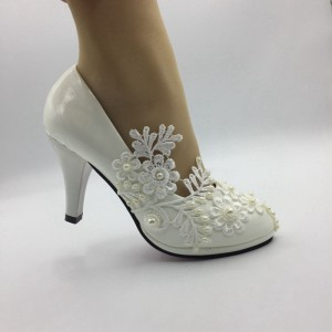 Beautiful women white lace Pearl shinestone Wedding HEEL shoes Bridal Bridesmaid shoes