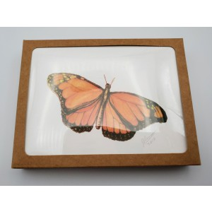 Butterflies-Set of 5 Individually Handcolored/Hand Signed Blank Notecards w/Envelopes Boxed