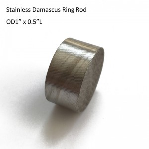 "OD1"" x 0.5""L STAINLESS Damascus Steel Mokume Gane Twist Pattern Rod Wedding Ring"