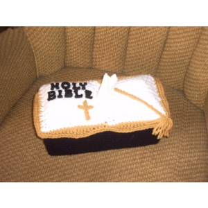 Bible Tissue Box Cover Crochet Holy Bible Pastor Gift Deacon Gift