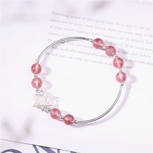 Strawberry Quartz Beaded Bracelet with Sterling Silver Star Charm
