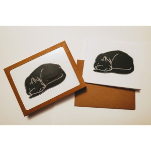 Black Cat Naptime -Sleeping Cat -Set of 5 Blank Notecards Boxed