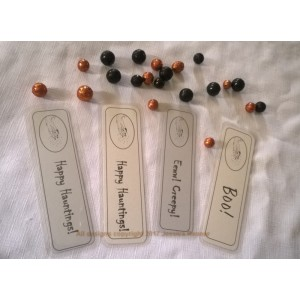 Halloween Goth Fun Bookmarks Set of 4 w/Melting Hand Design by Jessica Renner