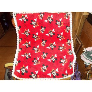 Mickey Mouse Baby Fleece Blanket with White Crocheted Edging Baby Shower Gift New Mom Gift