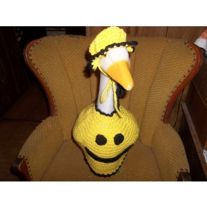 Smiley Face Geese Goose Outfit Dress Crochet Garden Decor Outdoor Decor Garden Statue Clothes