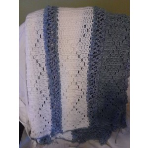 Extra Large Blue & White Diamond Pattern Afghan