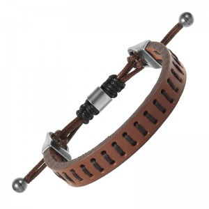 Casisto.J Mens Leather Bracelet - Handmade Braided Weave Black Brown with Stainless Steel Clasp Engrave Bracelets