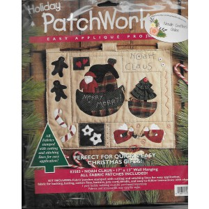Bucilla Patchwork Quilt Kit,  Noah Claus, Craft Kit, Holiday Wall Hanging