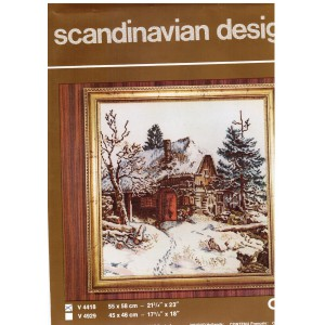 Scandinavian Counted Cross Stitch Kit, Cabin Design Embroidery