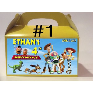 Qty 4 Toy Story, Birthday Personalized, Party Goody Boxes