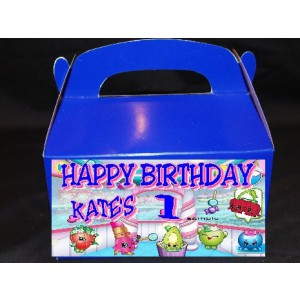 Qty 4 Shopkins Goody Favor Boxes, Candy Bags, Birthday