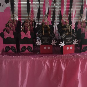 Qty 6 Goody Bags, Birthday, Celebration, Girls, Minnie Mouse,Mickey Mouse Themed, Candy Bags