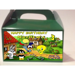 Qty 4 Looney Tunes Goody Boxes, Treat Box Favors, Baby BirthdayBoys, Girls