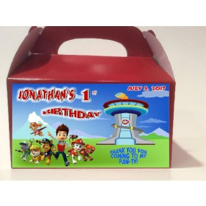 Qty 4 Paw Patrol Personalized, Candy Party Favor Boxes, Goody box