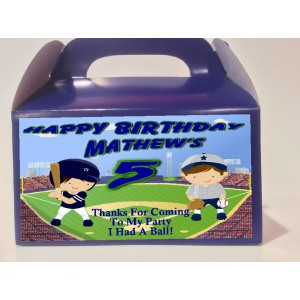 Qty 4 Baseball Favor Boxes, Birthday